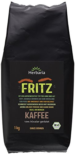 Herbaria Fritz Kaffee ganze Bohne BIO, 1er Pack (1 x 1 kg)