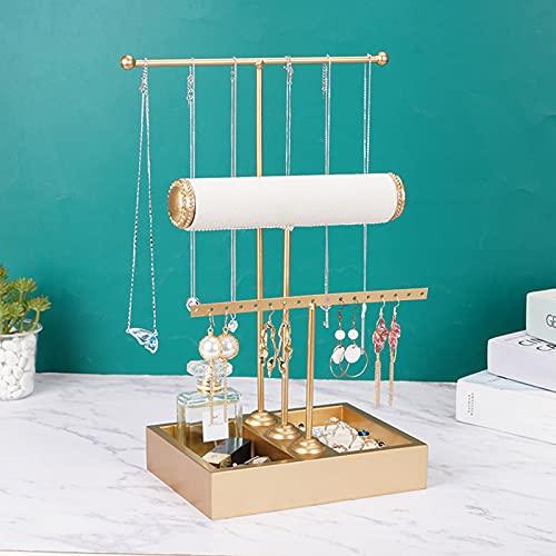 Wilitto Organizador de joyas con soporte para pulsera y caja base de almacenamiento para anillos, botellas cosméticas, collar de 3 niveles y pendientes de metal dorado