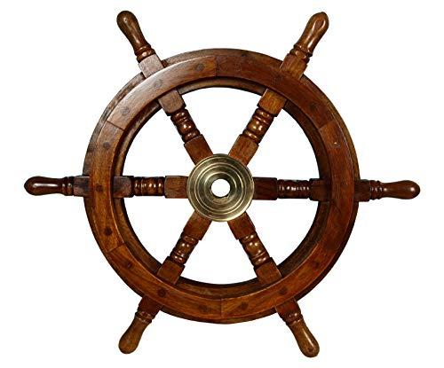 Unbekannt Deko Steuerrad aus Holz Durchmesser 30 cm für die Maritime Dekoration