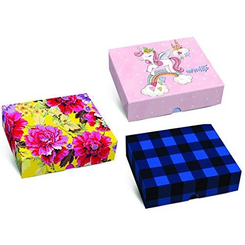 Caixa Para Presente, Estampas sortidas, 17x13x4 cm, Pacote com 10 Caixas, Cromus