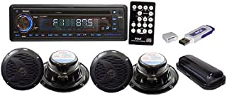 Pyle PLMRKIT109 Complete Marine Water Proof 4 Speaker CD/USB/MP3/Combo 6.5-InchSpeakers with Stereo Cover and USB Drive (B...