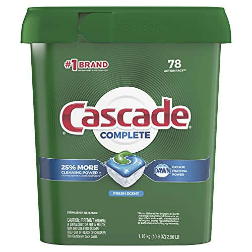 Product Image of the Cascade Complete Dishwasher Pods, ActionPacs Dishwasher Detergent Tabs, Fresh Scent, 78 Count (Packaging May Vary)