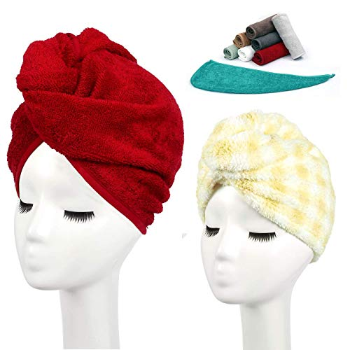 Luxury Quick Magic Hair Dry Hat 100% Cotton Water Absorbent Drying Wrap Twist Towelling Hair Turban Dry Caps Dryer with Loop and Button Fastener– Size 62x23cm Pack of 3 - Red