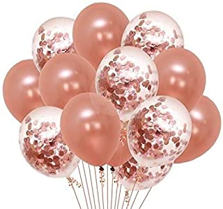 Party Propz Pack of 18 Pcs Rose Gold Latex & Confetti balloons for birthday decoration items/ balloons for birthday party