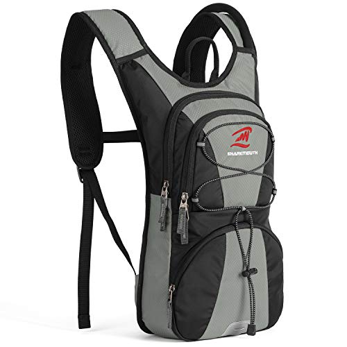 SHARKMOUTH FLYHIKER Hiking Hydration Backpack Pack with 25L BPA Free Water Bladder Lightweight and Comfortable for Short Day Hikes Day Trips and Trails Gray