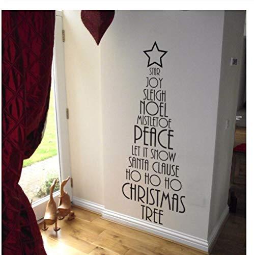 Ccfqiangtie Árbol De Navidad Vinilo Etiqueta De La Pared Decoración Del Hogar Feliz Navidad Letras Tatuajes De Pared Vinilo Ventana Pegatinas Regalo 19X57Cm