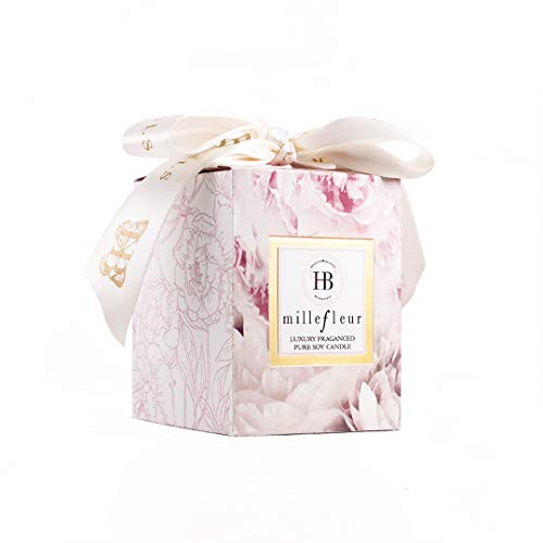 HB HEALTH BEAUTY BOTANICALS /Millefleur Fragrance/7.5 Oz/Luxury Scented Soy Candles/Frosted Gold Glass Jar /Hand Poured/Highly Scented /Clean Burn/Gold Embossed Gift Box/Wood Wick/Satin Bow