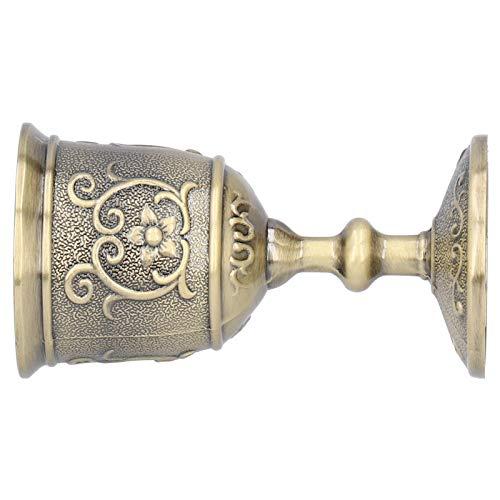 Royal Chalice Cáliz Copa de licor europea Copa de vino vintage Bronce Metal para fiesta Boda(small)