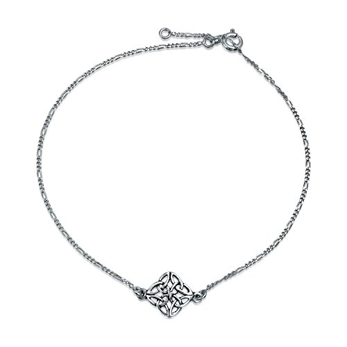 Celtic Love Knot Triquetra Clover Anklet Ankle Bracelet For Women For Teen 925 Sterling Silver Adjustable 9 To 10 Inch