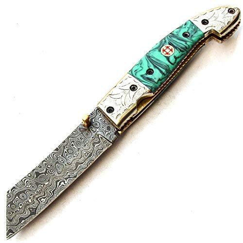 SBSP 9496 Couteau de poche pliant lame en acier damas entièrement personnalisé à la main avec gaine supérieure chef cuisine maison jardin camping outil collection couteaux de pêche et autres