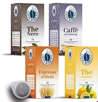 72 CIALDE MIX CAFFE' BORBONE AROMATIZZATE 44 MM ESE ( PACCO DEGUSTAZIONE ORZO - GINSENG - THE NERO LIMONE - THE LIMONE)