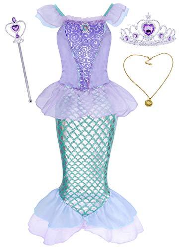 AmzBarley Disfraz sSirenita Niña,Boda Fiesta Princesa Sirena Ariel Vestido Ropa Niña Cumpleaños con 3PCS Accesorios para Cosplay Halloween Navidad Carnaval Ceremonia Bautizo 19/5-6 Años
