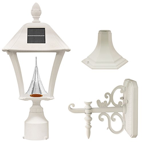 GAMA SONIC GS-106FPW-W Baytown Lamp Outdoor Solar Light Fixture, Pole Pier & Wall Mount Kits, White