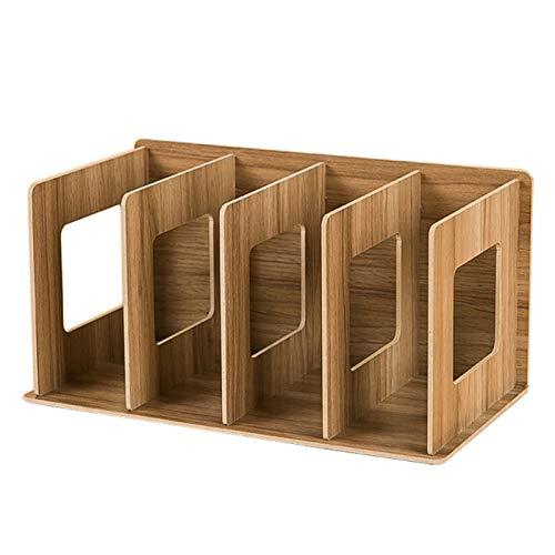 lamta1k Estantería de mesa, 4 rejillas de madera, estante de almacenamiento para estanterías de mesa, organizador para decoración del hogar, color marrón