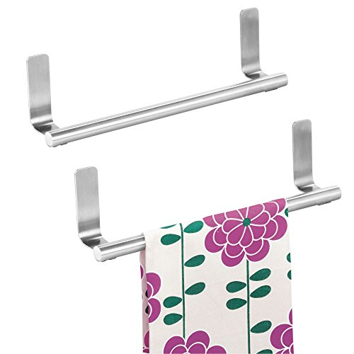 iDesign Forma Self-Adhesive Towel Bar Holder for Bathroom, Kitchen Walls, Cabinets, Above Counters, 9.75' x 5.75' x 2', Set of 2, Brushed Stainless Steel