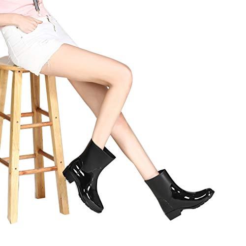 ZHANGGUOHUA Rain Boots Female Medio Tubo Stivali da Pioggia Moda Acqua Stivali Antipioggia Scarpe Impermeabili Antiscivolo Scarpe d'Acqua (Color : Black, Size : 36)