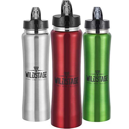WildStage Trinkflasche Edelstahl 500ml Doppelwandig | Wasserflasche auslaufsicher | Metall Flasche BPA frei | Isolier Sportflasche | Fahrradflasche für Kinder, Fitness, Sport, Büro, Schule in rot