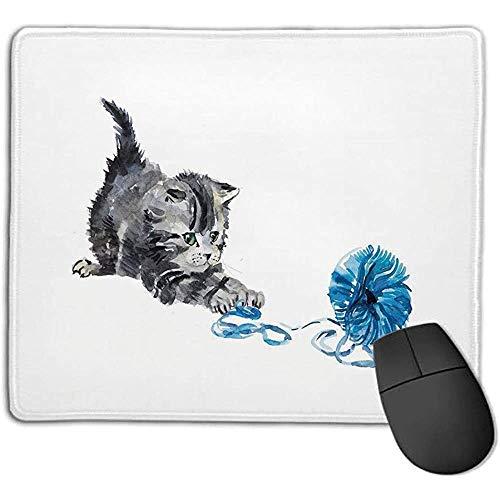 Muismat pad muismat kat speelse babykitje met wollen bol pelzig dier huiskat kinderen huisdieren grafiek grijs blauw op