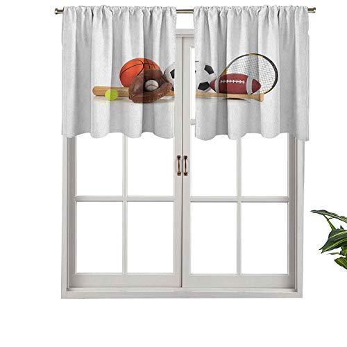 Hiiiman Cenefas de cortina con bolsillo para barra, varios equipos deportivos, diferentes pelotas, raqueta de tenis, béisbol, juego de 2, 137 x 91 cm, aislamiento térmico para sala de estar