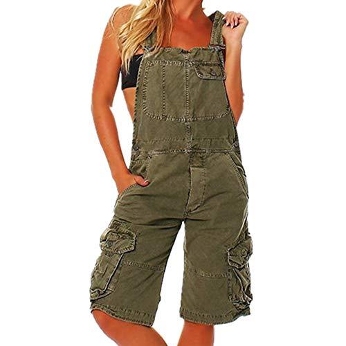 N\P Pantalones de mujer en forma de Y banda ancha con doble correa de hombro y bolsillo para mujer