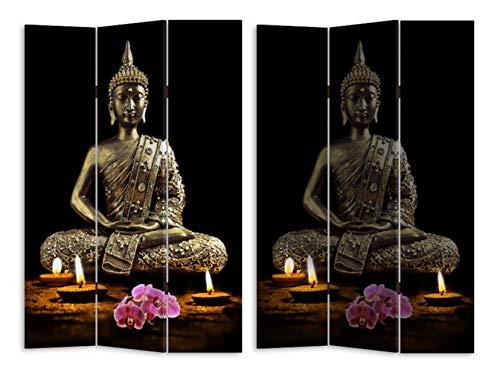 HTI-Line Paravent mit LED Buddha Sichtschutz Spanische Wand Raumteiler