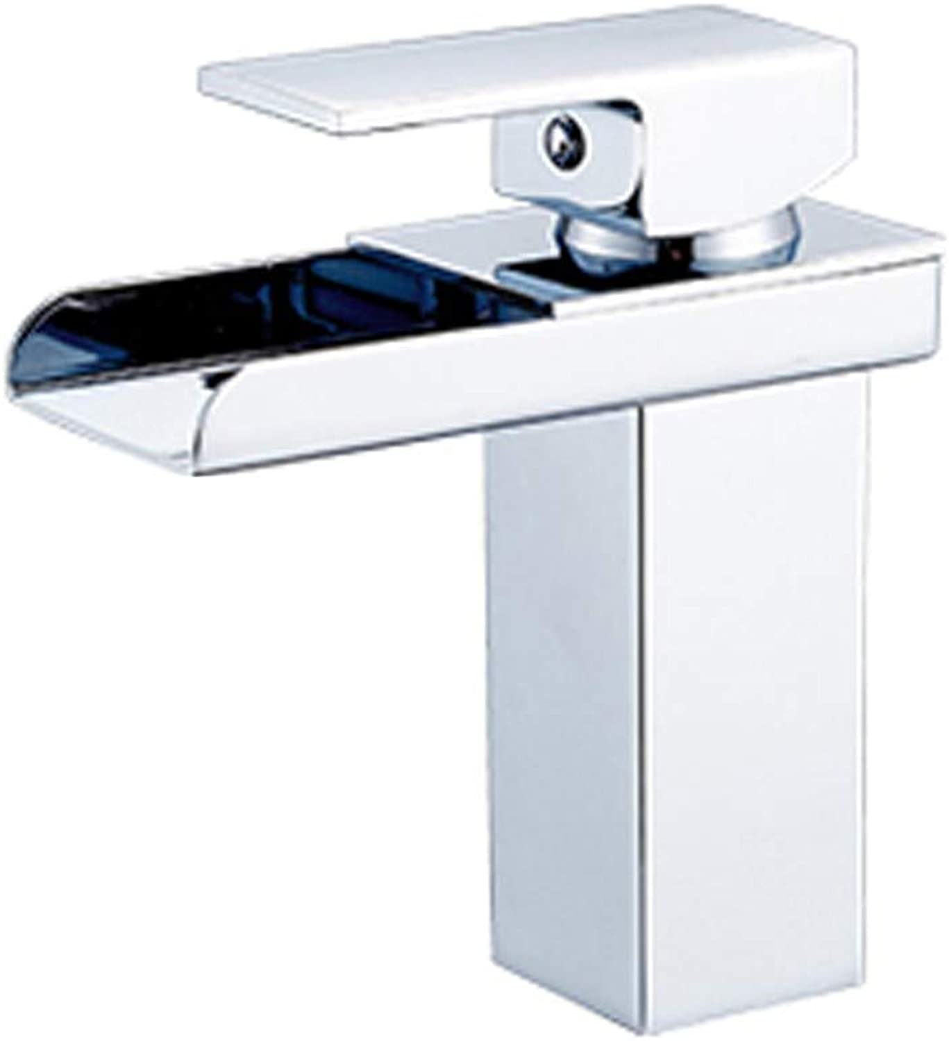 Faucet, All Copper Waterfall Single Hole Hot And Cold Wash Basin Above Counter Basin Faucet