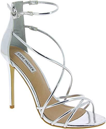 Steve Madden Satire Sandal Sandalias de tacón de Aguja para Mujer Piel sintética Plateada - Número de Modelo: 91000218 0W0 07004 14001 - Tamaño: 39 EU