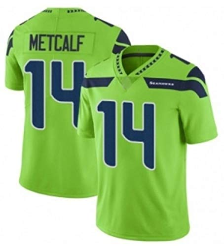 Dk Metcalf # 14 American Football Trikot Seattle Seahawks, Rugby Trikot Sport Kurzarm Sweatshirt Fitness Atmungsaktives Sticktrikot Green-XL