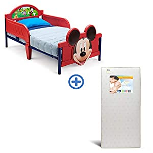 Delta Children 3D-Footboard Toddler Bed, Disney Mickey Mouse Twinkle Stars Fiber Core Crib and Toddler Mattress