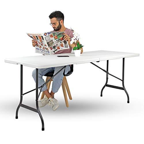 Brigros - Tavolo Pieghevole da Giardino Bianco Perfetto Come Tavolo da Campeggio, da Buffet, da Cucina | Tavolino Esterni Richiudibile a Valigetta con Maniglia (180x70x74)