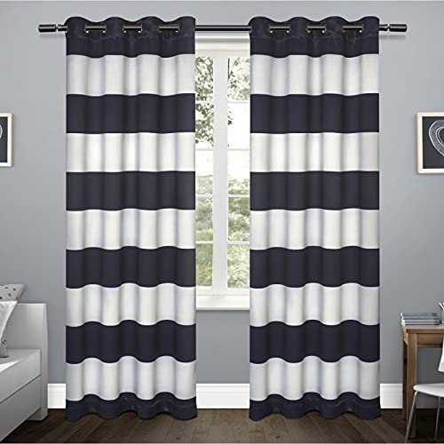 Exclusive Home Curtains Rugby Sateen Window Curtain Panel Pair with Grommet Top, 52 x 84, Navy, 2 Piece