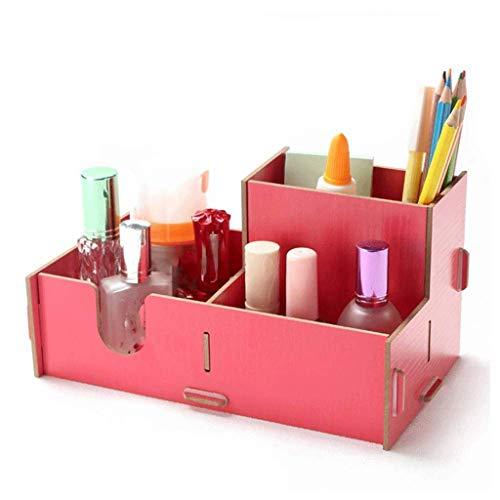 ADSE Organizador de Escritorio con Compartimentos - Soporte para bolígrafo Doble - Soporte para Suministros de Oficina para Tarjetas/bolígrafos/lápices/teléfonos móviles (Rosa)