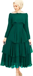 Casual Layered Dress - Blue Green Color - For Women