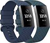 EUCARLOS 2 Pack Replacement Bands for Fitbit Charge 4 / Fitbit Charge 3 / Fitbit Charge 3 SE, Classic Soft Sports Wristbands Waterproof Fitness Watch Strap for Women Men (Small, Dark Cyan/Navy)