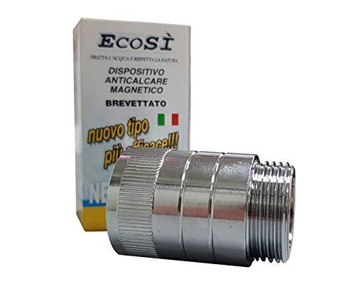 EcoSi Anticalcare Magnetico per il Filtraggio dell'acqua in Ottone Cromato per Lavatrici, Lavastoviglie e Caldaiette. Brevettato e Disegnato in Italia.