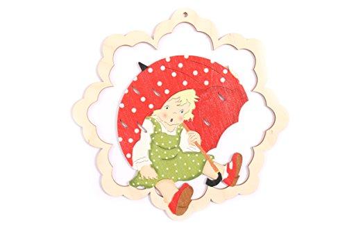 Fensterbild Mädchen mit Regenschirm - beidseitig coloriert - Holz ca. 23cm