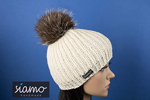 Beanie KITZBÜHEL Merino natur mit Pelz-Bommel Mütze von siamo-handmade
