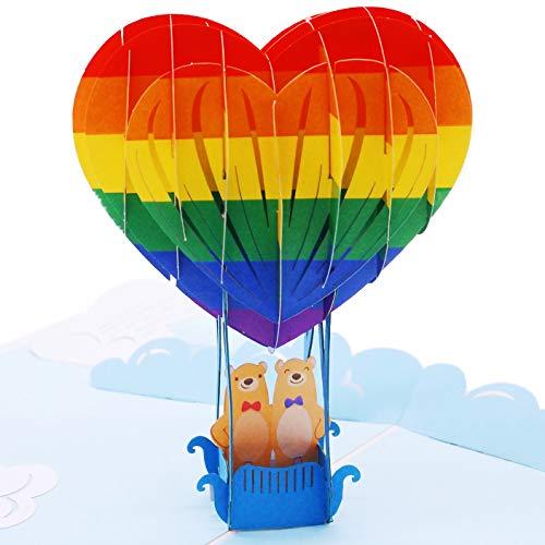 Liif Love Bears Couple Gay LGBT 3D Pop Up Greeting Card - Rainbow, Pride, Happy, Anniversary, Birthday, Wedding, Engagement, Lover, Men, Husband, Boyfriend, Congratulations, Romance, Gift