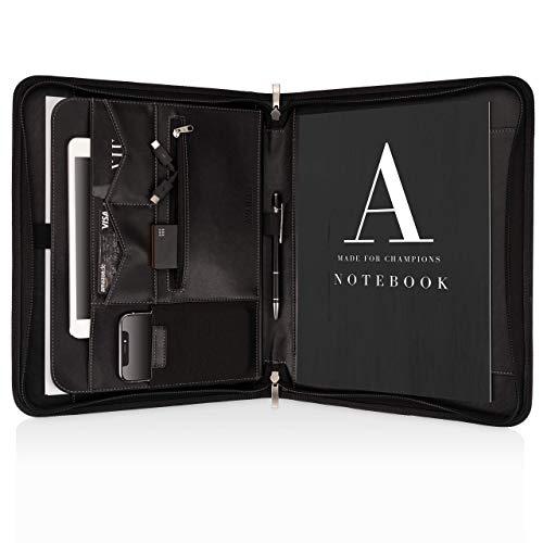 Schreibmappe A4 Premium Aktenmappe mit doppel Reißverschluss und 13 Zoll Fach für Tablet, IPad professionelle Konferenzmappe aus Kunstleder für Damen und Herren