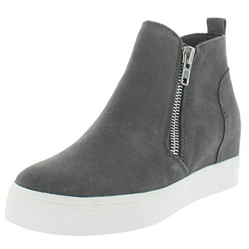 Steve Madden Women's Wedgie Sneaker, Grey Suede, 5