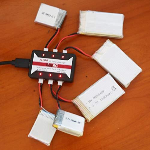 HotRc A100 Caricabatterie Lipo 6 in 1 3.7V per Hubsan X4 Q4 H107L H107C WLtoyBlack