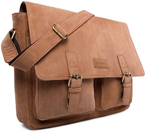 LEABAGS Cambridge Leder-Umhängetasche I Laptoptasche bis 15 Zoll I Messenger Bag aus echtem Büffel-Leder im Vintage Look I Ledertasche I Schultertasche I Arbeitstasche I 38x10x31cm (Braun)