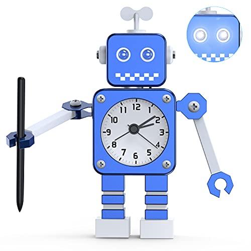 DTKID Roboter Wecker, Analoger Kinderwecker Jungen, Edelstahl Silent Wecker mit blinkenden leuchtenden Augen und rotierendem Arm, Geschenk für Kinder, Mädchen Jungen (Blau)