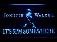 Johnnie Walker It's 5pm Somewhere LED看板 ネオンサイン ライト 電飾 広告用標識 W60cm x H40cm ブルー