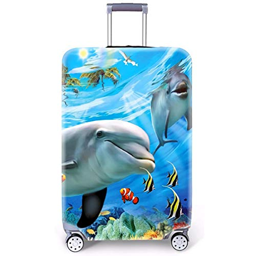 Suitcase Cover 3D Starry Sky Wolf Dream Catcher Owl Football Design Pink Blue Black Purple Travel Luggage Protector Dust Cover (Without Suitcase) (Dolphin, XL(Fits to 29'-32' Trolley Case))