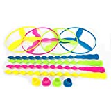 40 Pcs Plastic Bamboo Dragonfly Toy Hand-Push Twisty Flying Saucers Spinning Shooter Flying Disc Toys Kids Party Favors