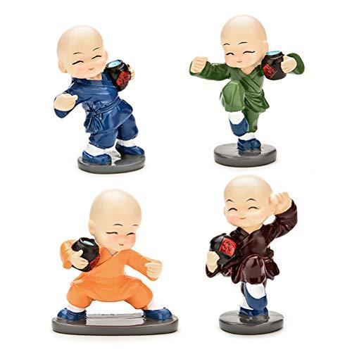 VOSAREA 4 peças, lindo enfeite de resina Kongfu Monk, decoração de carro, assento de carro, decoração de casa (2)