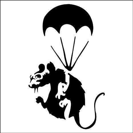 """Mouse Hole """"Banksy Fallschirmspringer-Ratte"""" Sockelleiste-Wandkunstaufkleber, Vinylabziehbild 11x 5 cm"""