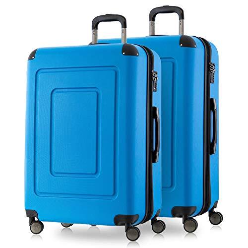 Happy Trolley - 2er Koffer-Set Trolley-Set Rollkoffer Hartschalen-Koffer Reisekoffer Lugano sehr leicht, TSA, 66 cm, 78L, (2xM), Cyan Blau