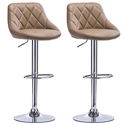 Muebles bar para salon polipiel taburete Taburetes de bar Sillas de bar grises Desayuno desayuno Taburetes para la cocina Mostrador de isla Taburetes de bar Juego de 2 piezas de cuero sintético Exteri
